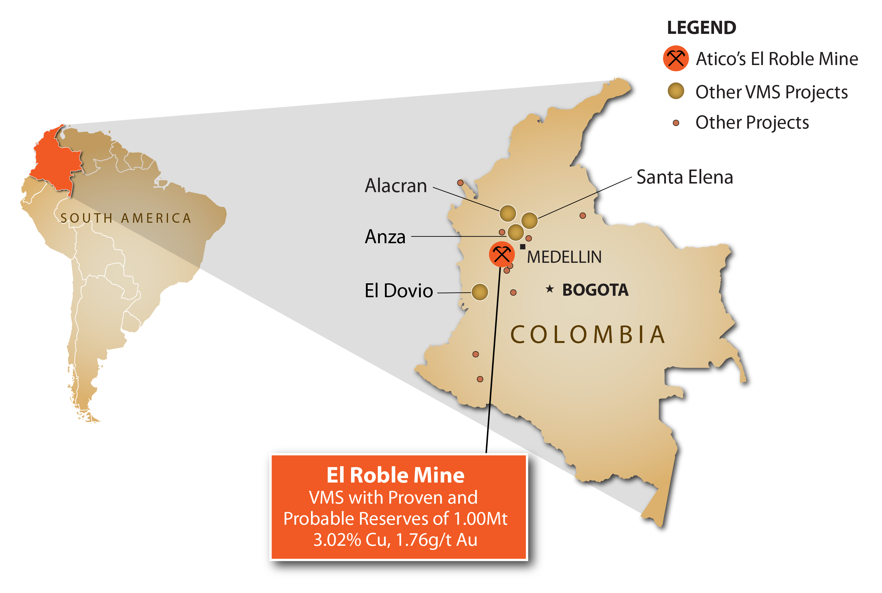 Atico El Roble Mine Location